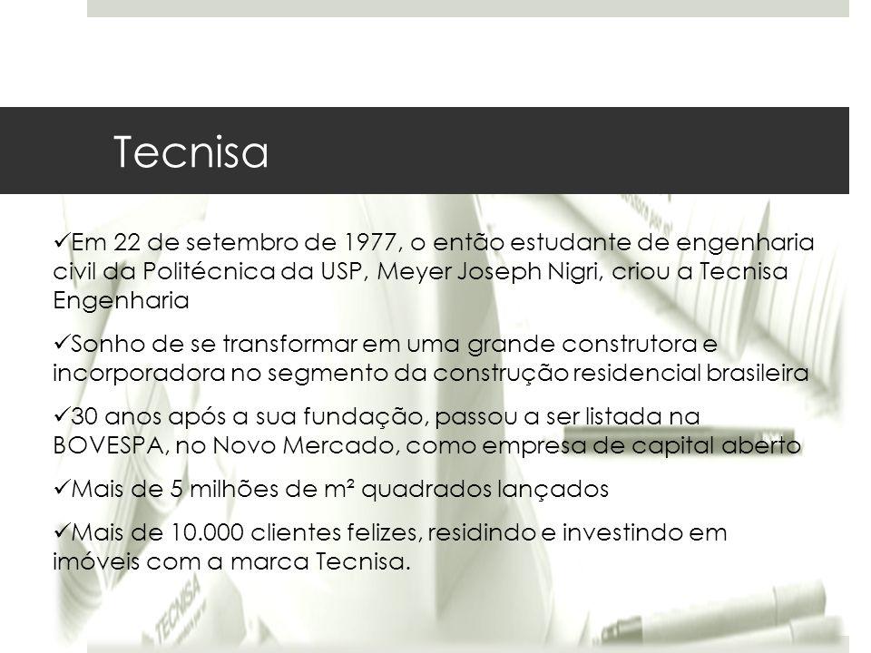 Em 22 de setembro de 1977, o então estudante de engenharia civil da Politécnica da USP, Meyer Joseph Nigri, criou a Tecnisa Engenharia Sonho de se tra