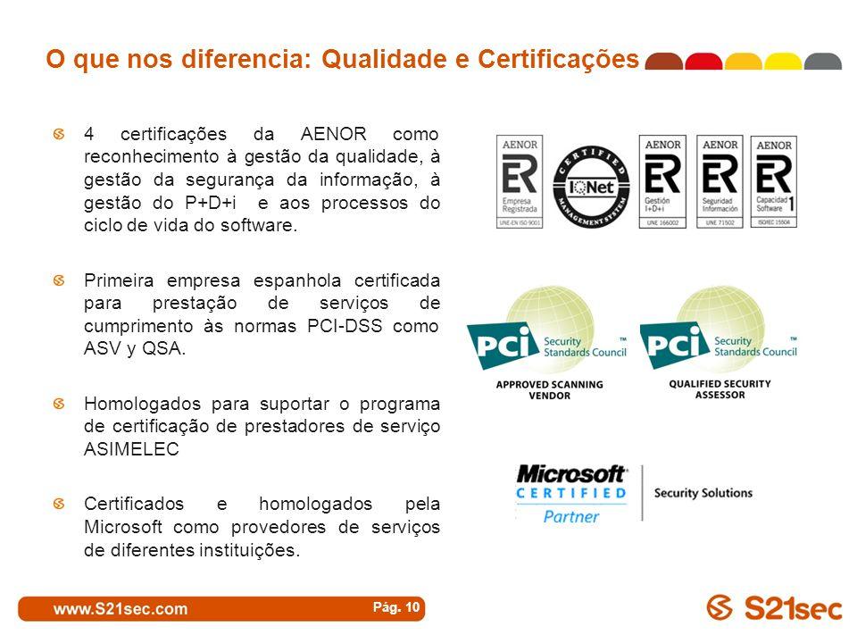 O que nos diferencia: Qualidade e Certificações 4 certificações da AENOR como reconhecimento à gestão da qualidade, à gestão da segurança da informaçã
