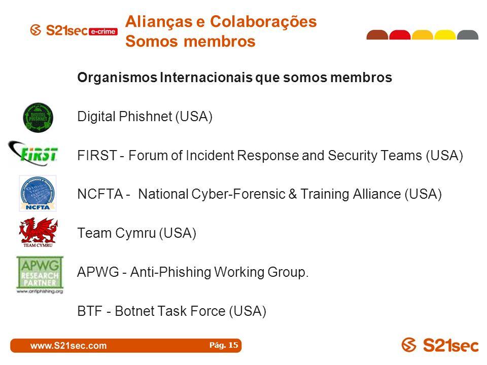 Organismos Internacionais que somos membros Digital Phishnet (USA) FIRST - Forum of Incident Response and Security Teams (USA) NCFTA - National Cyber-