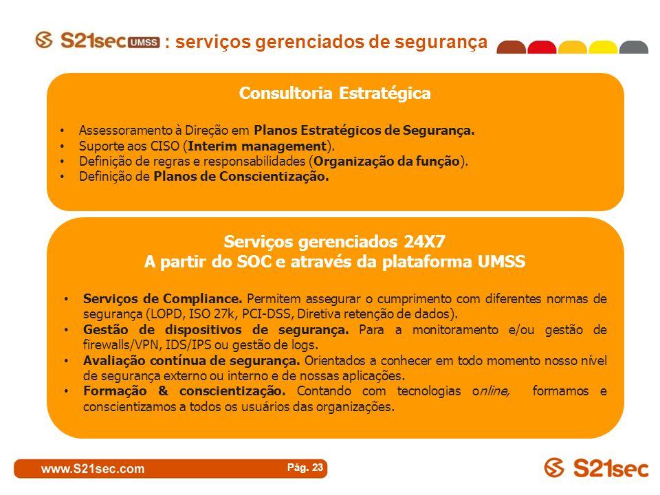 Pág. 23 Consultoria Estratégica Assessoramento à Direção em Planos Estratégicos de Segurança. Suporte aos CISO (Interim management). Definição de regr