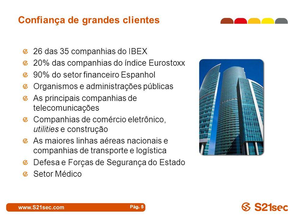 Confiança de grandes clientes Pág. 5 26 das 35 companhias do IBEX 20% das companhias do índice Eurostoxx 90% do setor financeiro Espanhol Organismos e