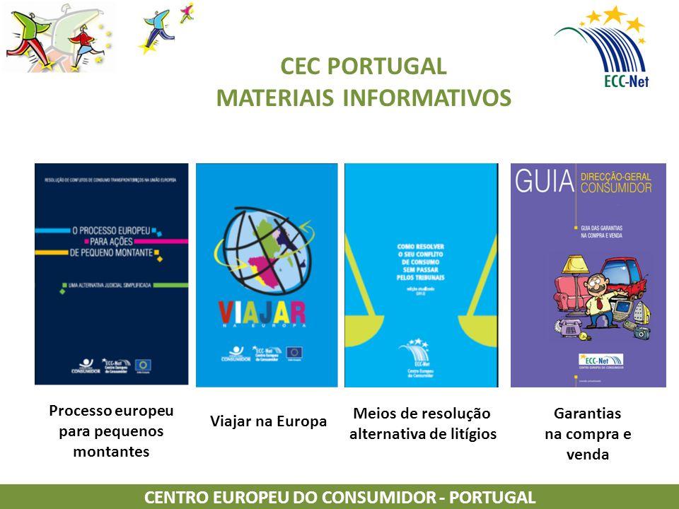CEC PORTUGAL MATERIAIS INFORMATIVOS CENTRO EUROPEU DO CONSUMIDOR - PORTUGAL Garantias na compra e venda Processo europeu para pequenos montantes Viajar na Europa Meios de resolução alternativa de litígios