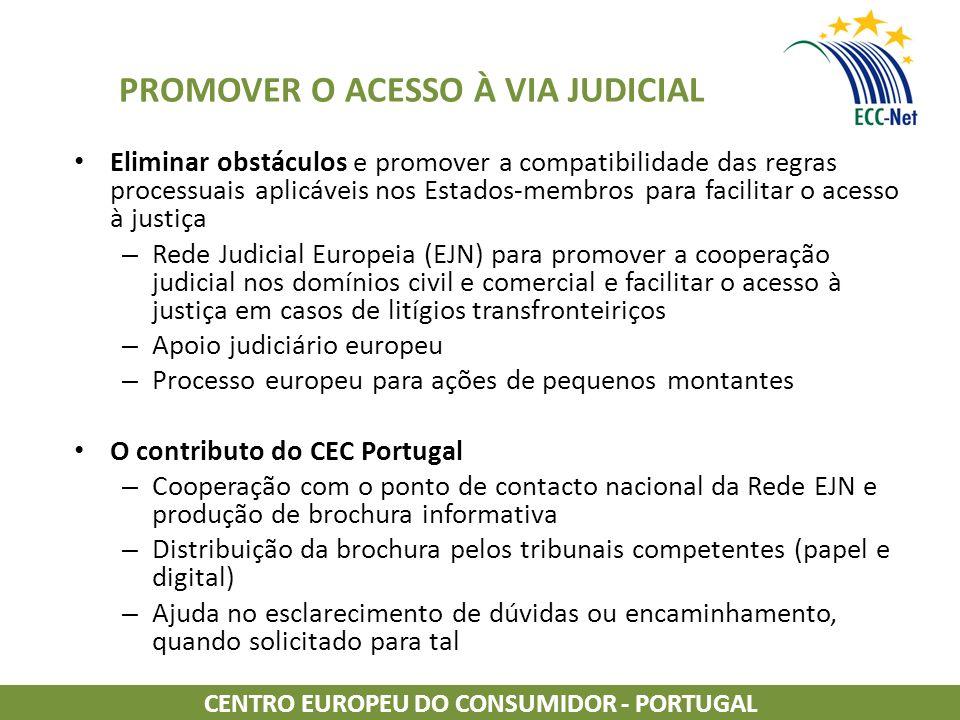 PROMOVER O ACESSO À VIA JUDICIAL Eliminar obstáculos e promover a compatibilidade das regras processuais aplicáveis nos Estados-membros para facilitar o acesso à justiça – Rede Judicial Europeia (EJN) para promover a cooperação judicial nos domínios civil e comercial e facilitar o acesso à justiça em casos de litígios transfronteiriços – Apoio judiciário europeu – Processo europeu para ações de pequenos montantes O contributo do CEC Portugal – Cooperação com o ponto de contacto nacional da Rede EJN e produção de brochura informativa – Distribuição da brochura pelos tribunais competentes (papel e digital) – Ajuda no esclarecimento de dúvidas ou encaminhamento, quando solicitado para tal CENTRO EUROPEU DO CONSUMIDOR - PORTUGAL