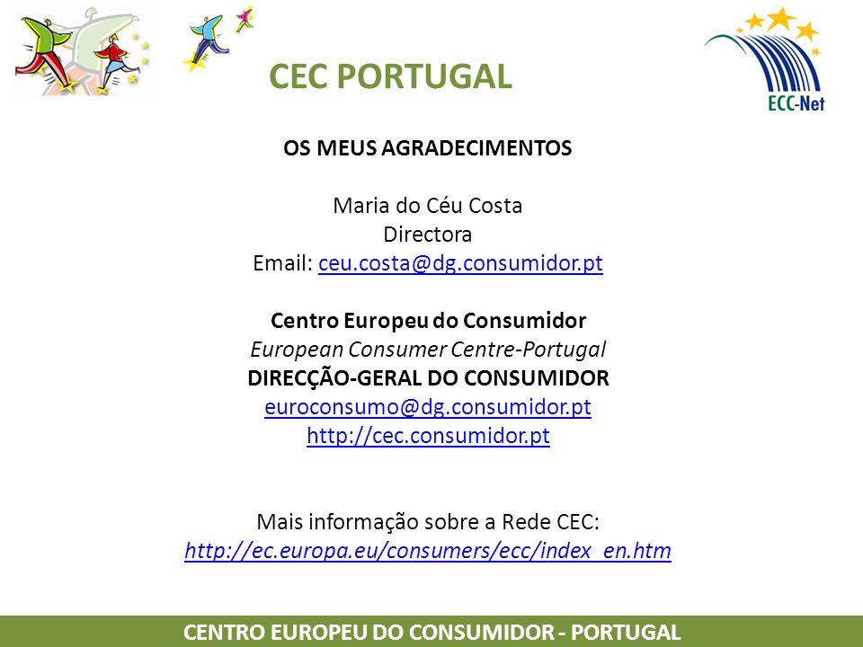 CEC PORTUGAL OS MEUS AGRADECIMENTOS Maria do Céu Costa Directora Email: ceu.costa@dg.consumidor.ptceu.costa@dg.consumidor.pt Centro Europeu do Consumidor European Consumer Centre-Portugal DIRECÇÃO-GERAL DO CONSUMIDOR euroconsumo@dg.consumidor.pt http://cec.consumidor.pt Mais informação sobre a Rede CEC: http://ec.europa.eu/consumers/ecc/index_en.htm http://ec.europa.eu/consumers/ecc/index_en.htm CENTRO EUROPEU DO CONSUMIDOR - PORTUGAL