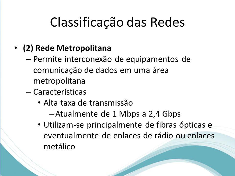 Classificação das Redes (2) Rede Metropolitana – Permite interconexão de equipamentos de comunicação de dados em uma área metropolitana – Característi