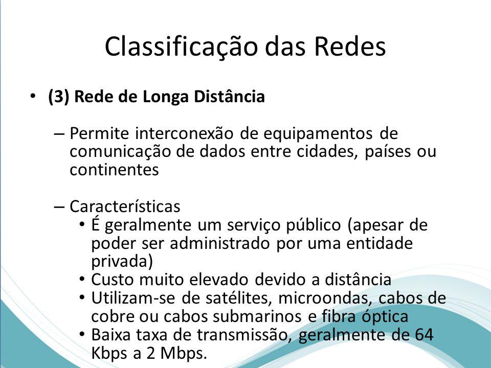 Classificação das Redes (3) Rede de Longa Distância – Permite interconexão de equipamentos de comunicação de dados entre cidades, países ou continente
