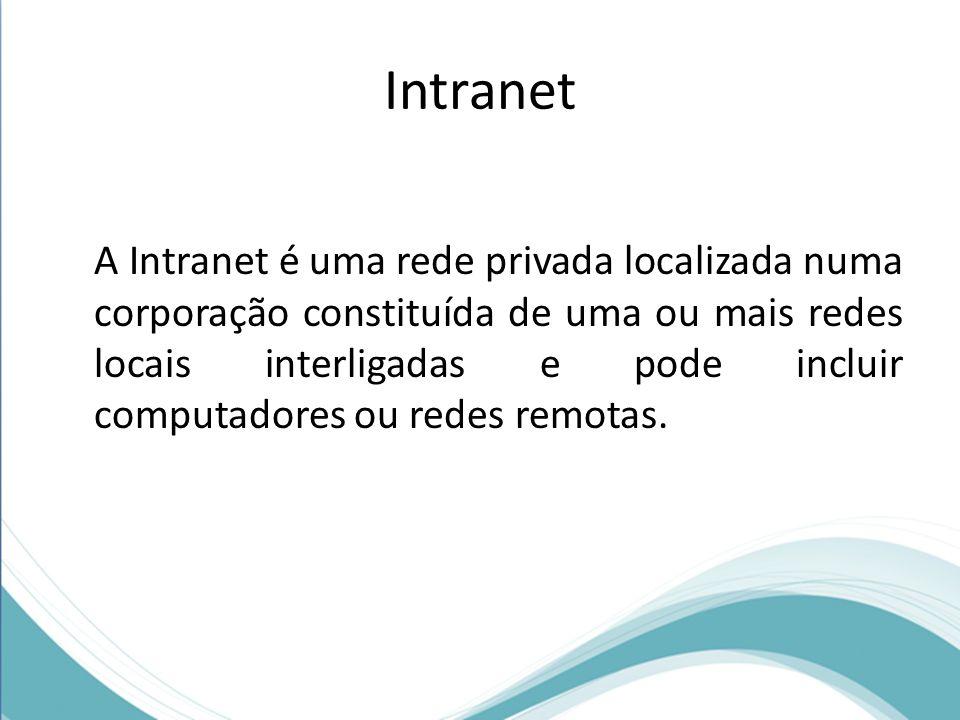 Intranet A Intranet é uma rede privada localizada numa corporação constituída de uma ou mais redes locais interligadas e pode incluir computadores ou