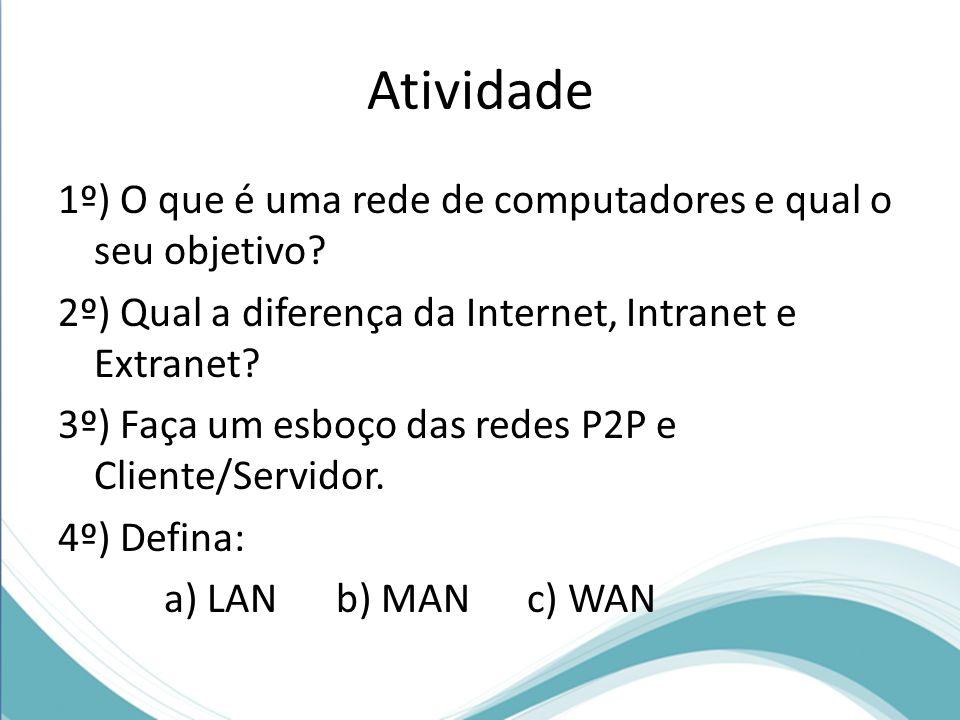 Atividade 1º) O que é uma rede de computadores e qual o seu objetivo? 2º) Qual a diferença da Internet, Intranet e Extranet? 3º) Faça um esboço das re