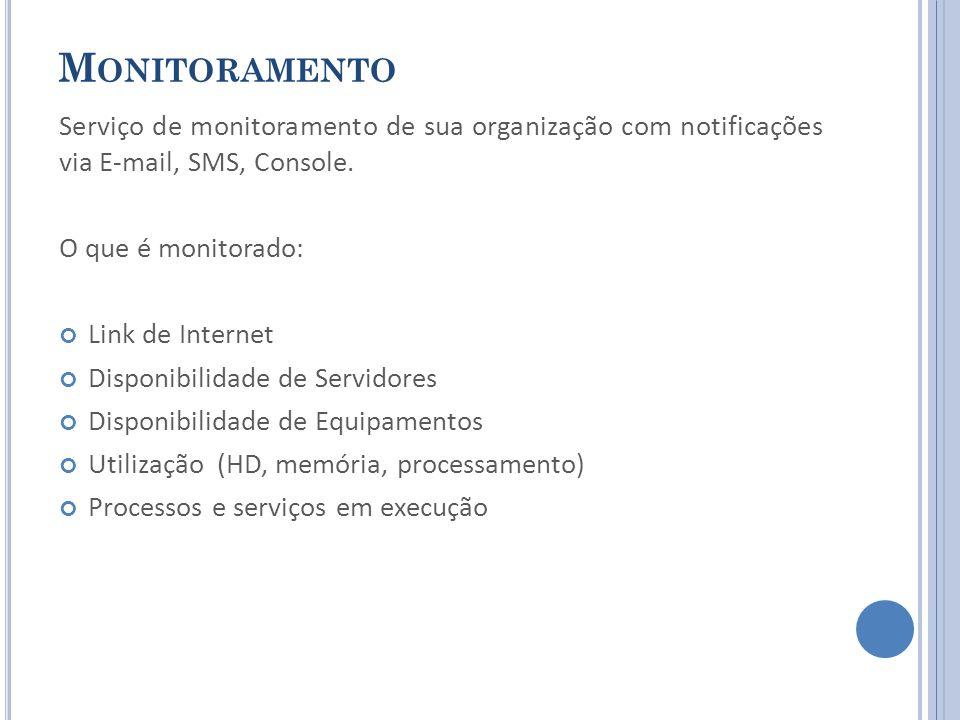 M ONITORAMENTO Serviço de monitoramento de sua organização com notificações via E-mail, SMS, Console. O que é monitorado: Link de Internet Disponibili