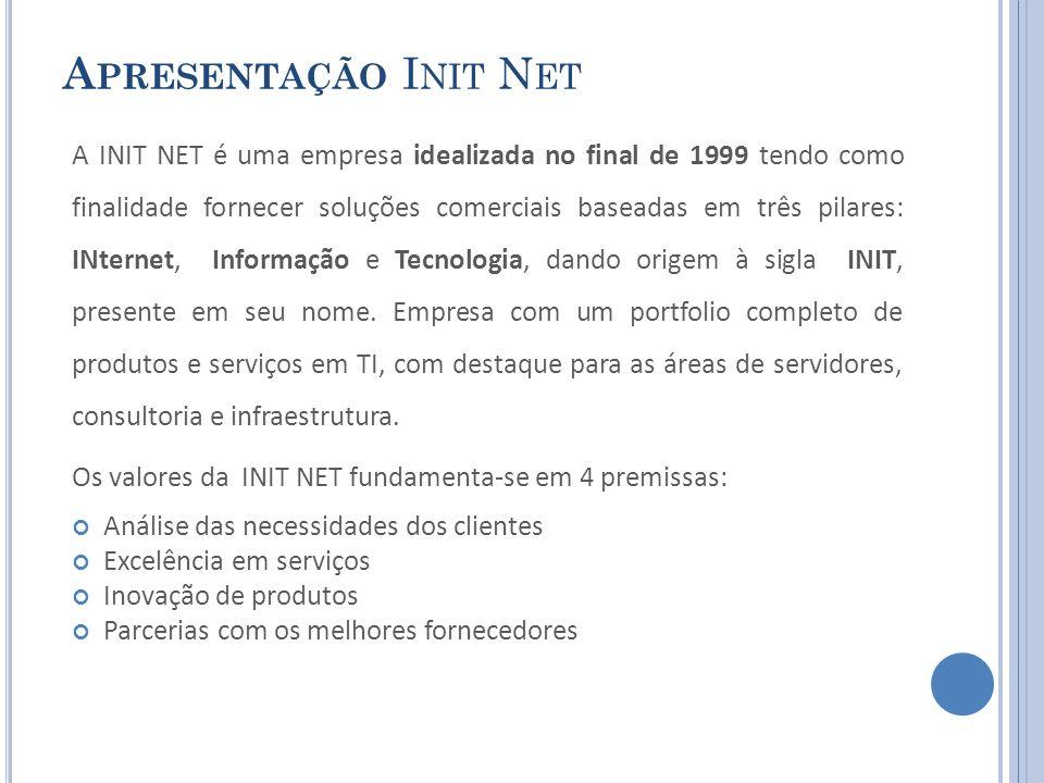 A PRESENTAÇÃO I NIT N ET A INIT NET é uma empresa idealizada no final de 1999 tendo como finalidade fornecer soluções comerciais baseadas em três pila