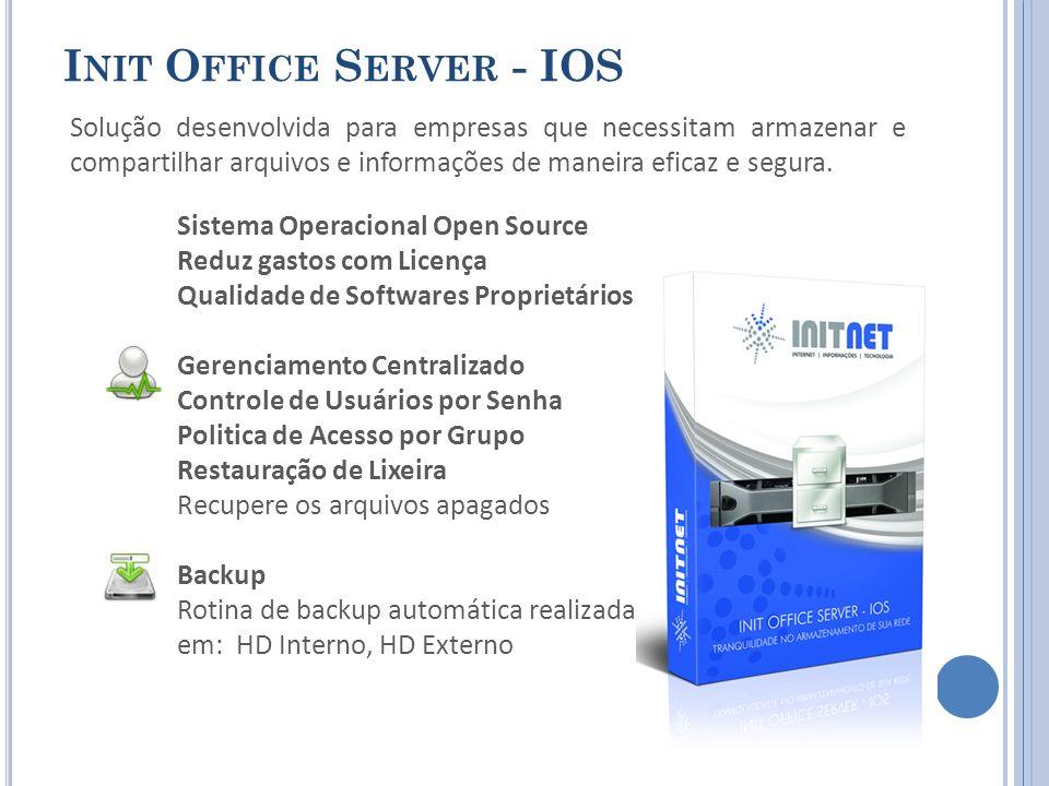 I NIT O FFICE S ERVER - IOS Solução desenvolvida para empresas que necessitam armazenar e compartilhar arquivos e informações de maneira eficaz e segura.