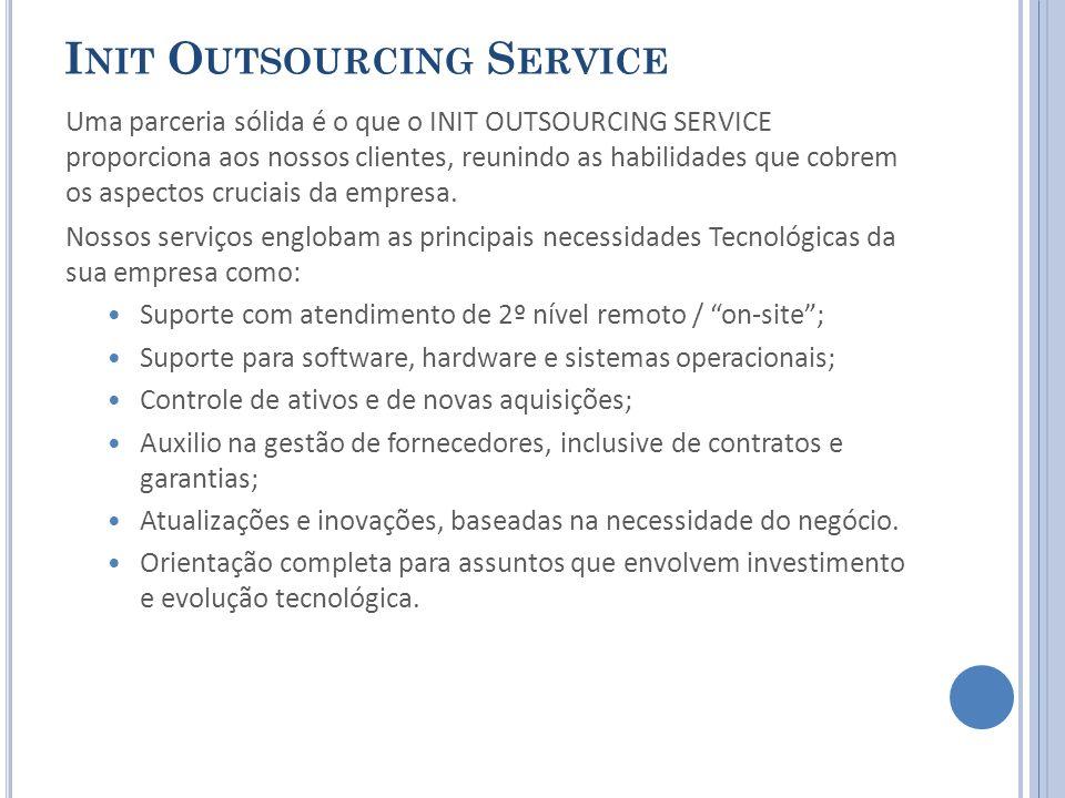 I NIT O UTSOURCING S ERVICE Uma parceria sólida é o que o INIT OUTSOURCING SERVICE proporciona aos nossos clientes, reunindo as habilidades que cobrem os aspectos cruciais da empresa.
