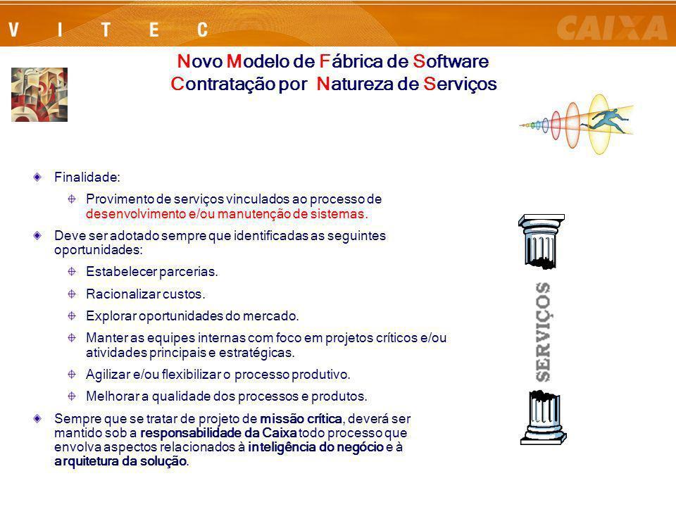Rio de Janeiro, 24 de Julho de 200613 Finalidade: Provimento de serviços vinculados ao processo de desenvolvimento e/ou manutenção de sistemas. Deve s