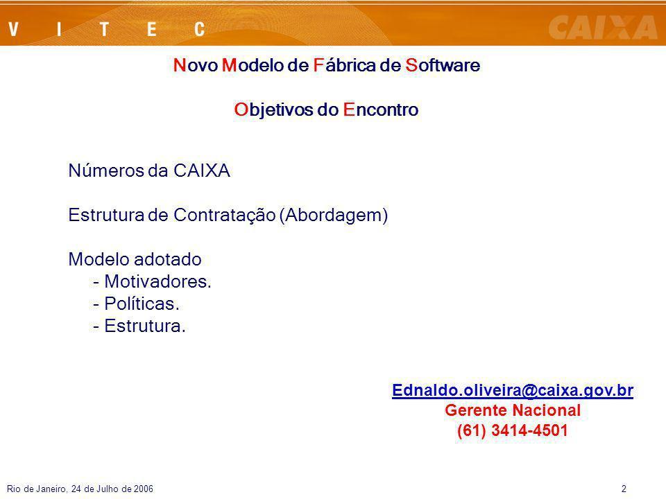 Rio de Janeiro, 24 de Julho de 20062 Números da CAIXA Estrutura de Contratação (Abordagem) Modelo adotado - Motivadores. - Políticas. - Estrutura. Nov