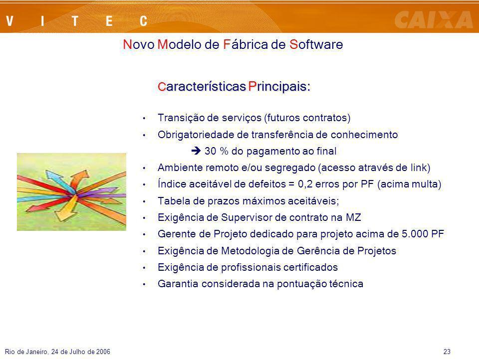 Rio de Janeiro, 24 de Julho de 200623 C aracterísticas Principais: Transição de serviços (futuros contratos) Obrigatoriedade de transferência de conhe