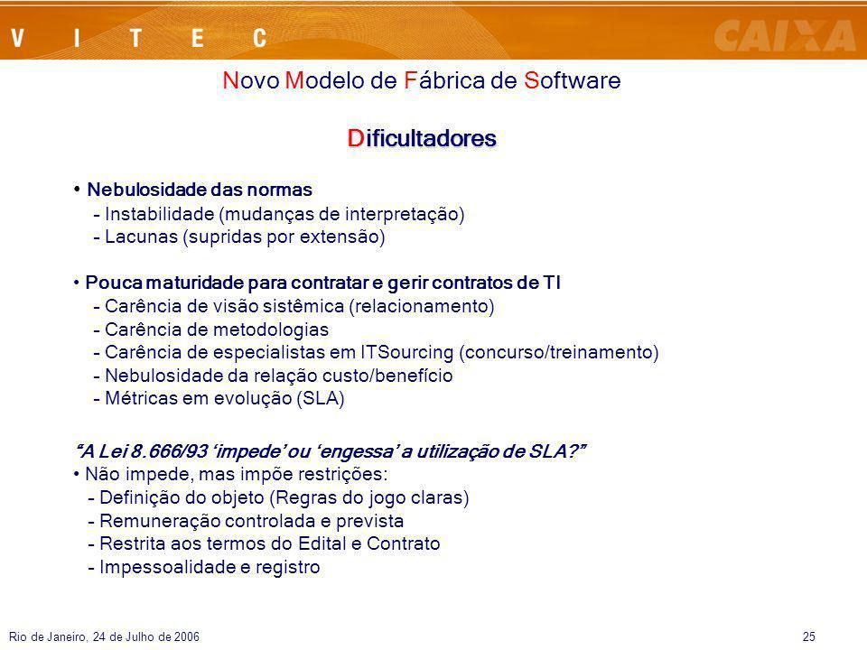 Rio de Janeiro, 24 de Julho de 200625 Novo Modelo de Fábrica de Software Dificultadores Nebulosidade das normas – Instabilidade (mudanças de interpret