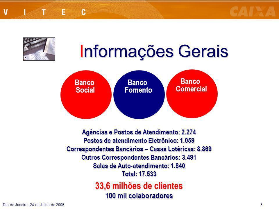 Rio de Janeiro, 24 de Julho de 20063 Informações Gerais Banco Social Banco Fomento Banco Comercial Agências e Postos de Atendimento: 2.274 Postos de a