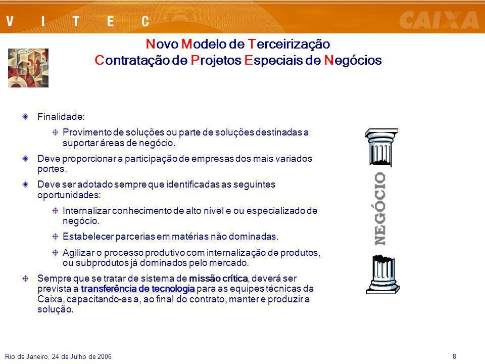 Rio de Janeiro, 24 de Julho de 20068 Finalidade: Provimento de soluções ou parte de soluções destinadas a suportar áreas de negócio. Deve proporcionar