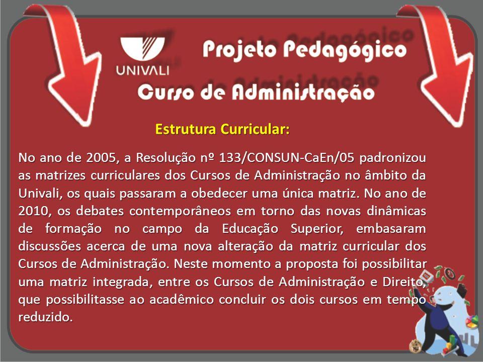 Estrutura Curricular: No ano de 2005, a Resolução nº 133/CONSUN-CaEn/05 padronizou as matrizes curriculares dos Cursos de Administração no âmbito da U