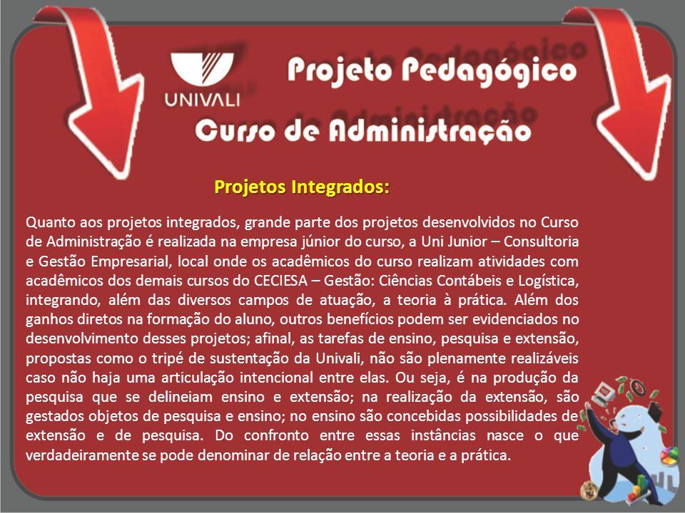 Projetos Integrados: Quanto aos projetos integrados, grande parte dos projetos desenvolvidos no Curso de Administração é realizada na empresa júnior d