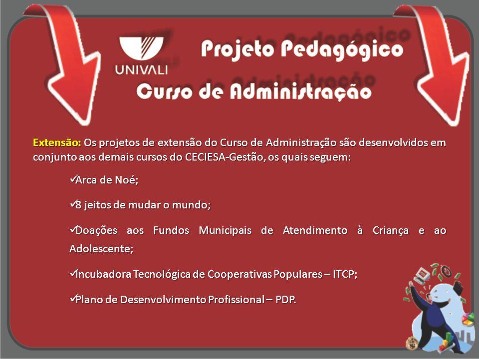 Extensão: Os projetos de extensão do Curso de Administração são desenvolvidos em conjunto aos demais cursos do CECIESA-Gestão, os quais seguem: Arca d