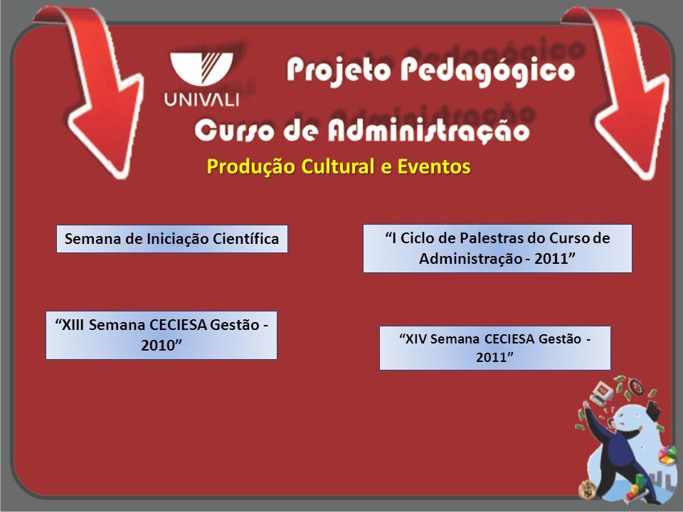 Semana de Iniciação Científica I Ciclo de Palestras do Curso de Administração - 2011 XIII Semana CECIESA Gestão - 2010 XIV Semana CECIESA Gestão - 201