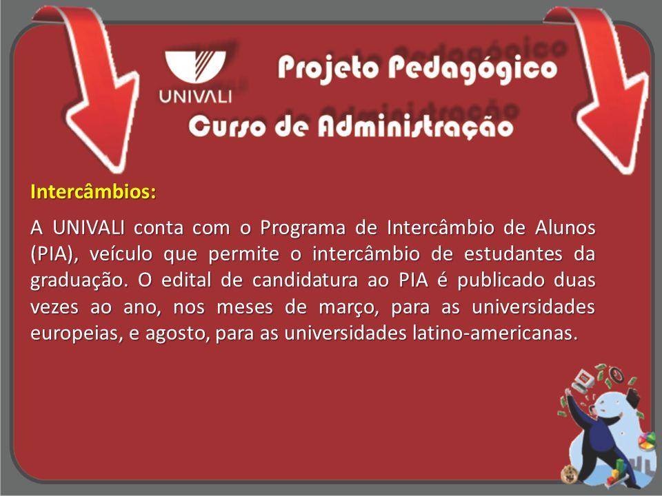 Intercâmbios: A UNIVALI conta com o Programa de Intercâmbio de Alunos (PIA), veículo que permite o intercâmbio de estudantes da graduação. O edital de