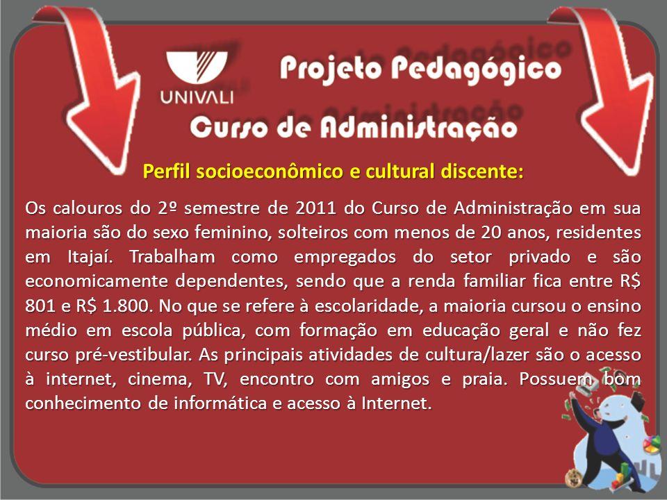 Perfil socioeconômico e cultural discente: Os calouros do 2º semestre de 2011 do Curso de Administração em sua maioria são do sexo feminino, solteiros
