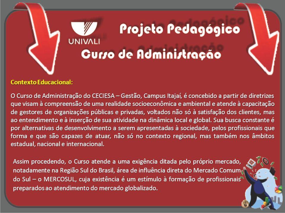 Contexto Educacional: O Curso de Administração do CECIESA – Gestão, Campus Itajaí, é concebido a partir de diretrizes que visam à compreensão de uma r