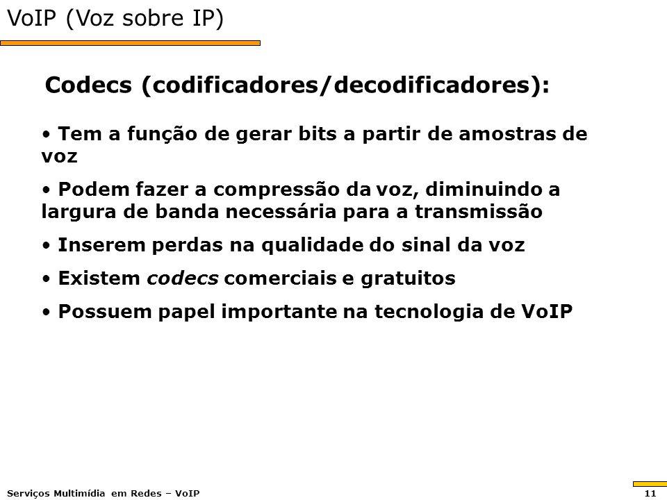 VoIP (Voz sobre IP) Tem a função de gerar bits a partir de amostras de voz Tem a função de gerar bits a partir de amostras de voz Podem fazer a compre