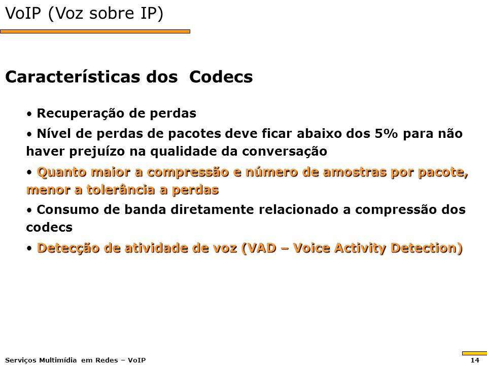 VoIP (Voz sobre IP) Recuperação de perdas Recuperação de perdas Nível de perdas de pacotes deve ficar abaixo dos 5% para não haver prejuízo na qualida
