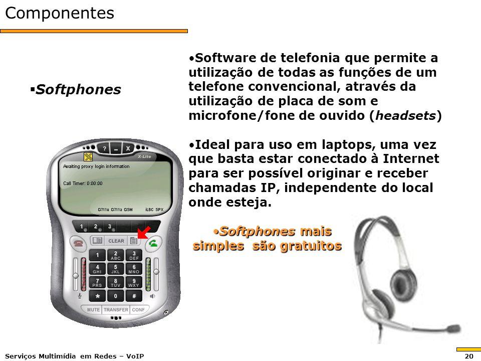 Componentes Softphones Softphones Software de telefonia que permite a utilização de todas as funções de um telefone convencional, através da utilização de placa de som e microfone/fone de ouvido (headsets)Software de telefonia que permite a utilização de todas as funções de um telefone convencional, através da utilização de placa de som e microfone/fone de ouvido (headsets) Ideal para uso em laptops, uma vez que basta estar conectado à Internet para ser possível originar e receber chamadas IP, independente do local onde esteja.Ideal para uso em laptops, uma vez que basta estar conectado à Internet para ser possível originar e receber chamadas IP, independente do local onde esteja.
