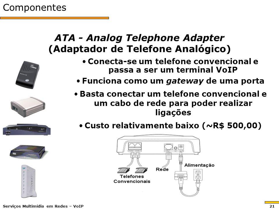Componentes ATA - Analog Telephone Adapter (Adaptador de Telefone Analógico) Conecta-se um telefone convencional e passa a ser um terminal VoIP Funciona como um gateway de uma porta Basta conectar um telefone convencional e um cabo de rede para poder realizar ligações Custo relativamente baixo (~R$ 500,00) Serviços Multimídia em Redes – VoIP 21
