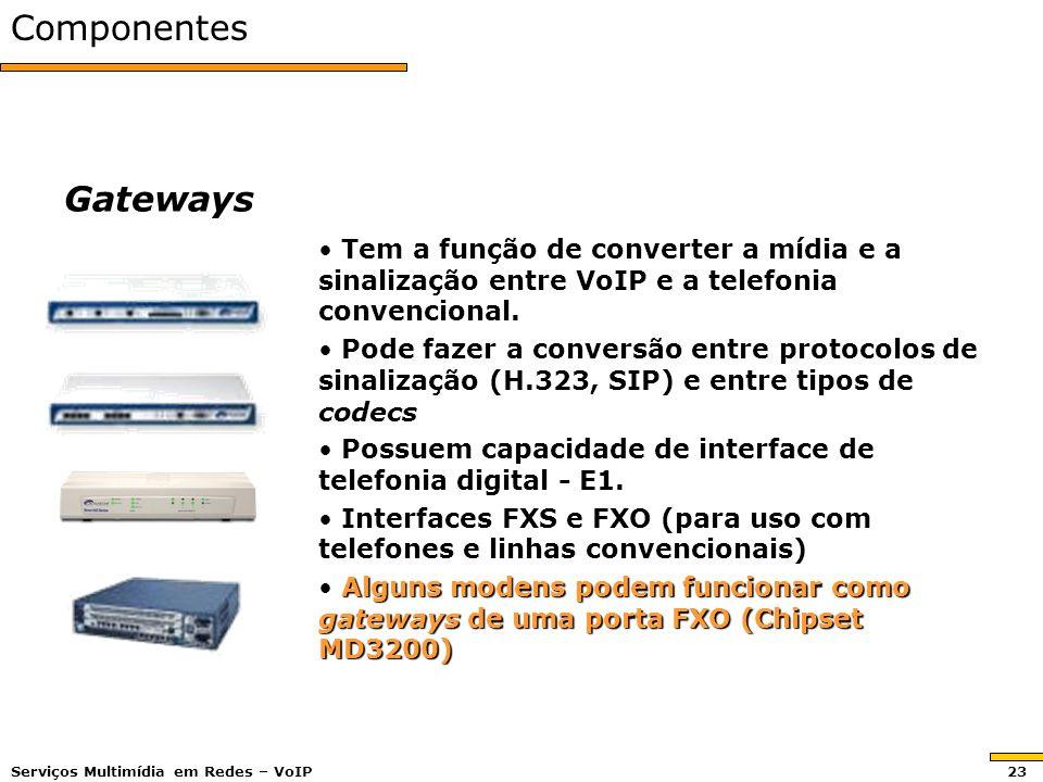 ComponentesGateways Tem a função de converter a mídia e a sinalização entre VoIP e a telefonia convencional. Tem a função de converter a mídia e a sin