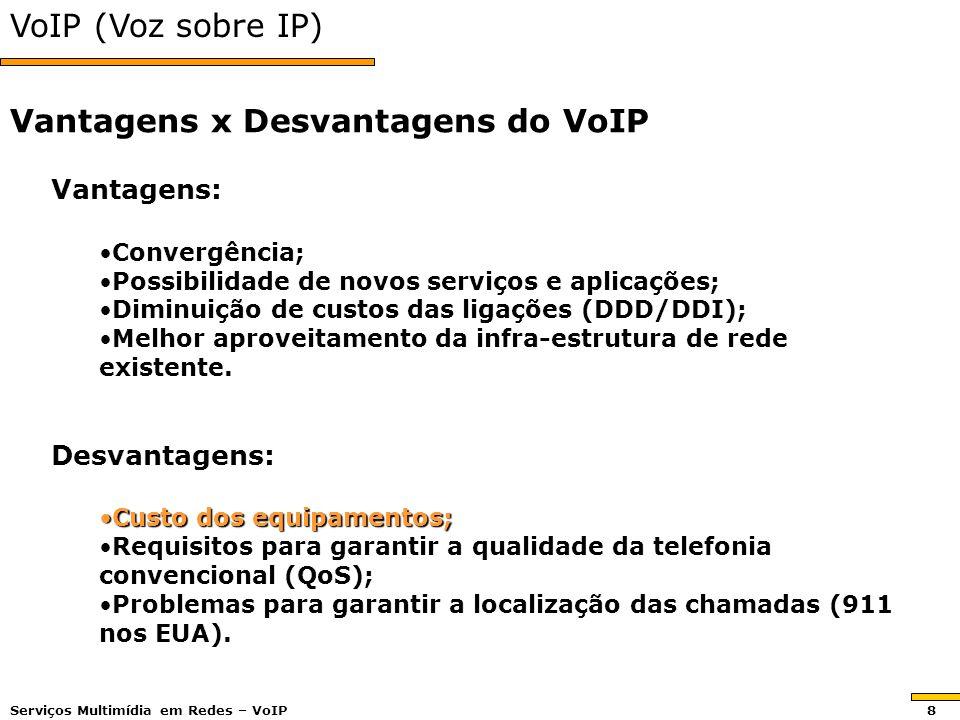 VoIP (Voz sobre IP) Vantagens: Convergência;Convergência; Possibilidade de novos serviços e aplicações;Possibilidade de novos serviços e aplicações; Diminuição de custos das ligações (DDD/DDI);Diminuição de custos das ligações (DDD/DDI); Melhor aproveitamento da infra-estrutura de rede existente.Melhor aproveitamento da infra-estrutura de rede existente.Desvantagens: Custo dos equipamentos;Custo dos equipamentos; Requisitos para garantir a qualidade da telefonia convencional (QoS);Requisitos para garantir a qualidade da telefonia convencional (QoS); Problemas para garantir a localização das chamadas (911 nos EUA).Problemas para garantir a localização das chamadas (911 nos EUA).