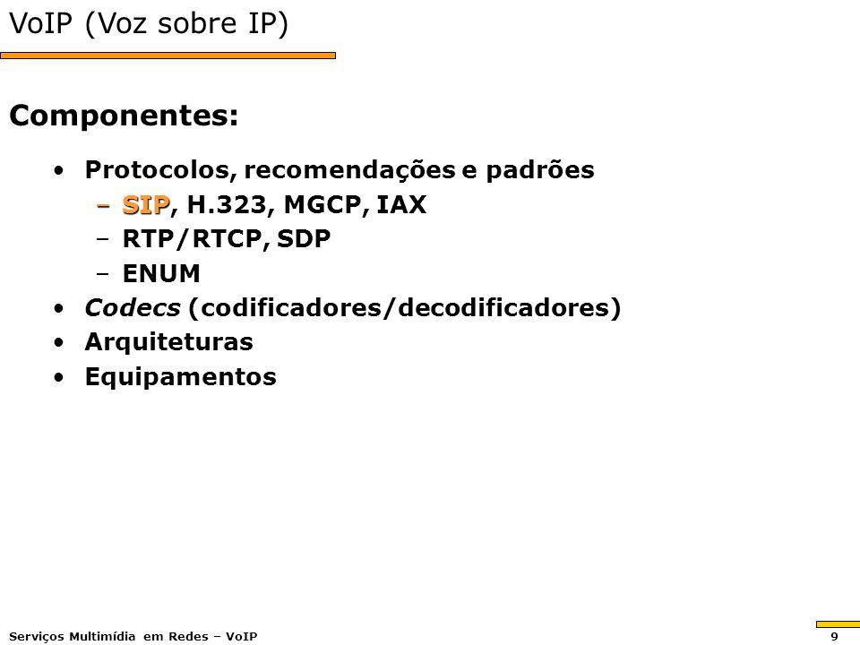 VoIP (Voz sobre IP) Protocolos, recomendações e padrõesProtocolos, recomendações e padrões –SIP, H.323, MGCP, IAX –RTP/RTCP, SDP –ENUM Codecs (codificadores/decodificadores)Codecs (codificadores/decodificadores) ArquiteturasArquiteturas EquipamentosEquipamentos Componentes: Serviços Multimídia em Redes – VoIP 9