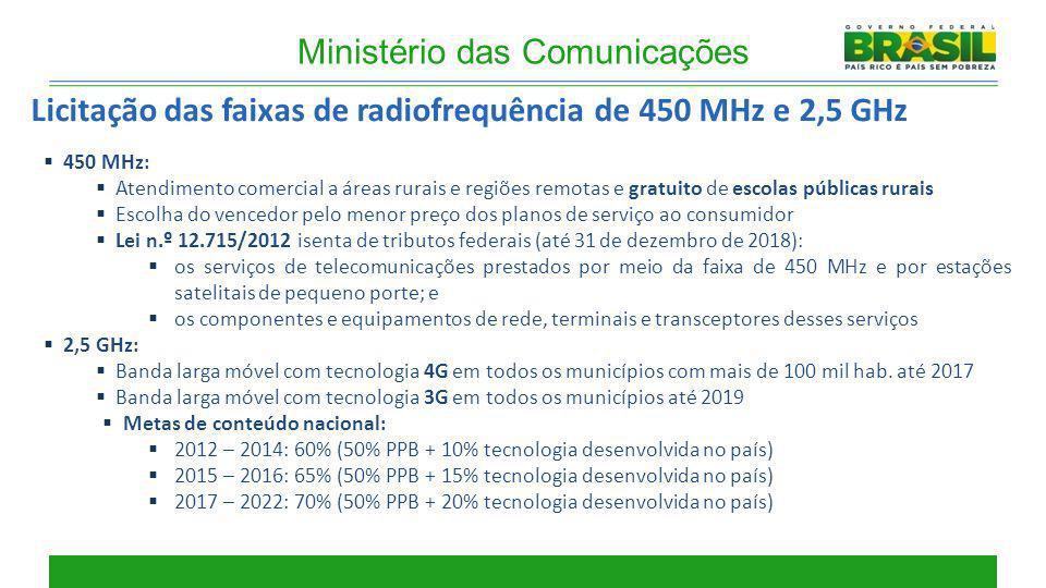 450 MHz: Atendimento comercial a áreas rurais e regiões remotas e gratuito de escolas públicas rurais Escolha do vencedor pelo menor preço dos planos