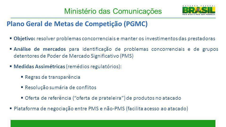 Ministério das Comunicações Plano Geral de Metas de Competição (PGMC) Objetivo: resolver problemas concorrenciais e manter os investimentos das presta