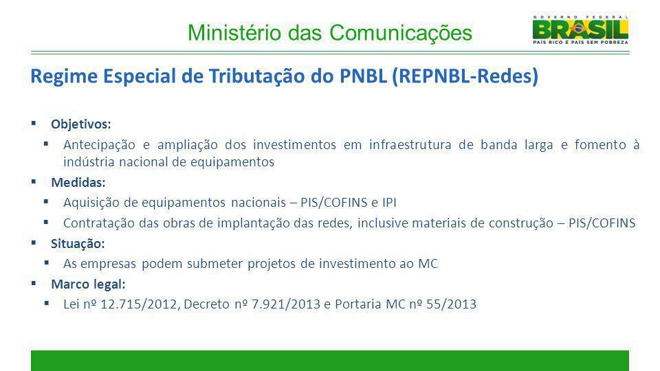Objetivos: Antecipação e ampliação dos investimentos em infraestrutura de banda larga e fomento à indústria nacional de equipamentos Medidas: Aquisiçã