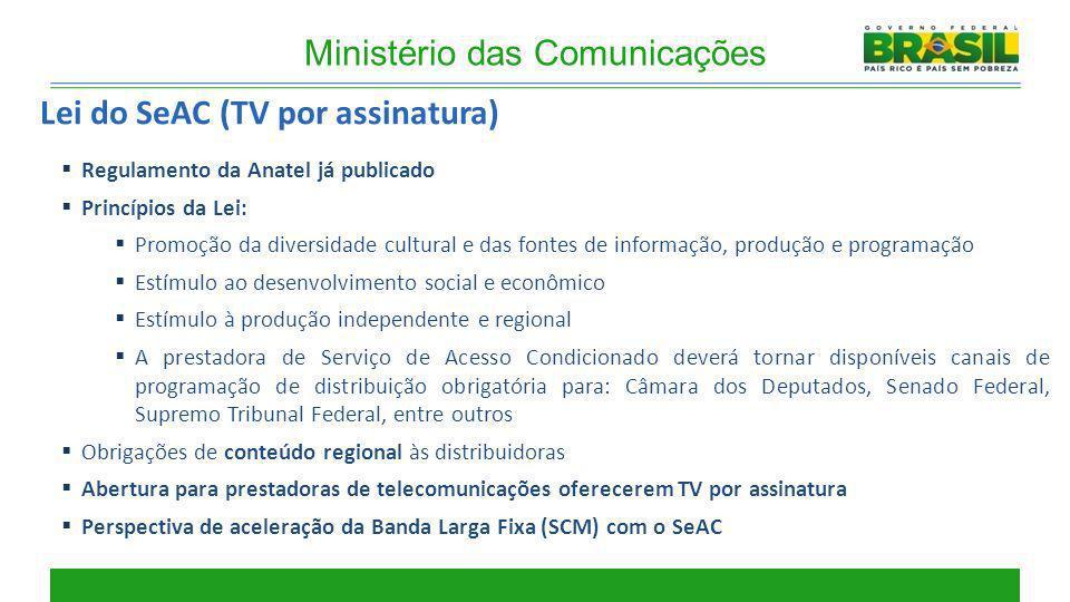 Lei do SeAC (TV por assinatura) Regulamento da Anatel já publicado Princípios da Lei: Promoção da diversidade cultural e das fontes de informação, pro
