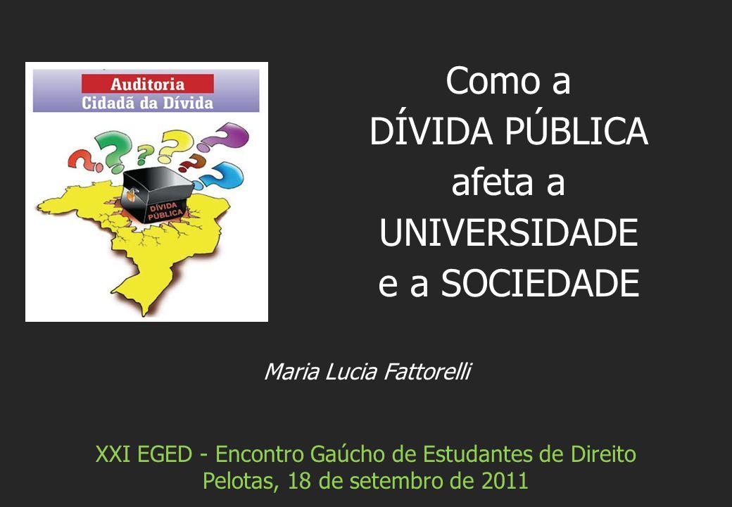 Maria Lucia Fattorelli XXI EGED - Encontro Gaúcho de Estudantes de Direito Pelotas, 18 de setembro de 2011 Como a DÍVIDA PÚBLICA afeta a UNIVERSIDADE