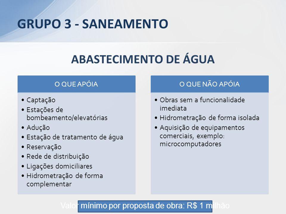 ABASTECIMENTO DE ÁGUA O QUE APÓIA Captação Estações de bombeamento/elevatórias Adução Estação de tratamento de água Reservação Rede de distribuição Li