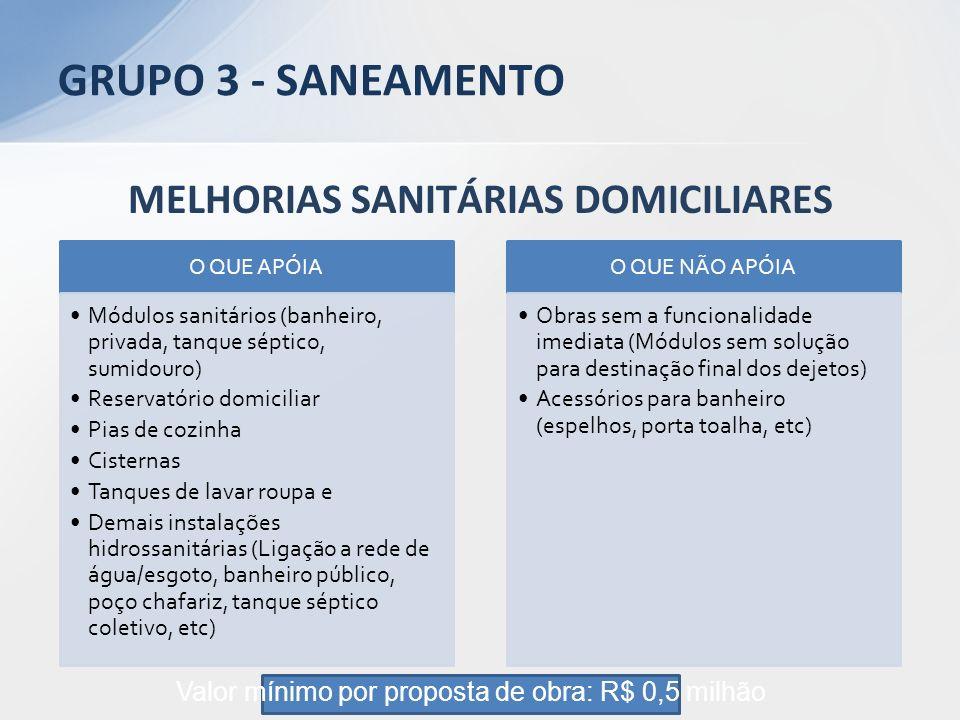 MELHORIAS SANITÁRIAS DOMICILIARES O QUE APÓIA Módulos sanitários (banheiro, privada, tanque séptico, sumidouro) Reservatório domiciliar Pias de cozinh