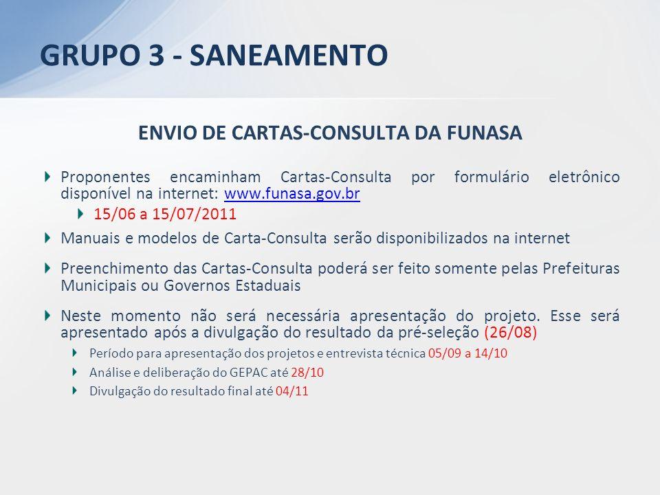 ENVIO DE CARTAS-CONSULTA DA FUNASA Proponentes encaminham Cartas-Consulta por formulário eletrônico disponível na internet: www.funasa.gov.brwww.funas