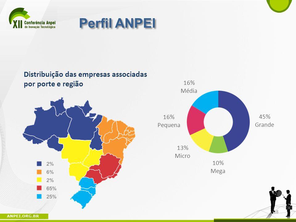 18 Distribuição das empresas associadas por porte e região 16% Média 16% Pequena 45% Grande 10% Mega 13% Micro Perfil ANPEI