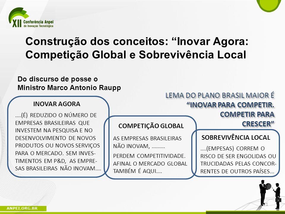 Do discurso de posse o Ministro Marco Antonio Raupp....(É) REDUZIDO O NÚMERO DE EMPRESAS BRASILEIRAS QUE INVESTEM NA PESQUISA E NO DESENVOLVIMENTO DE