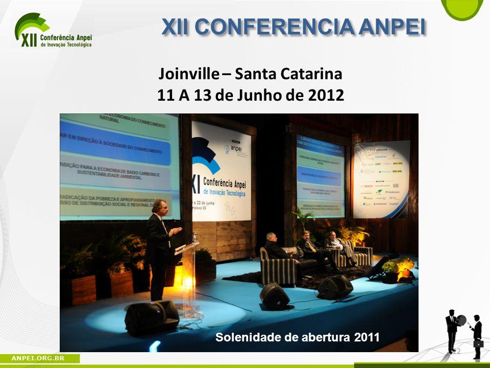 Solenidade de abertura 2011 Joinville – Santa Catarina 11 A 13 de Junho de 2012 XII CONFERENCIA ANPEI 22