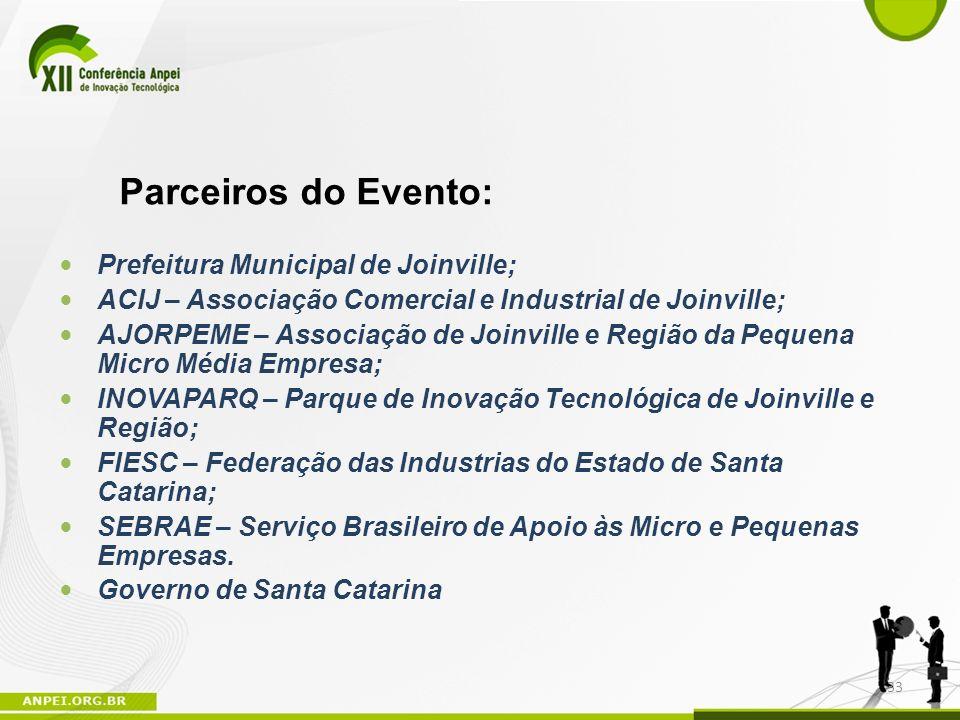Prefeitura Municipal de Joinville; ACIJ – Associação Comercial e Industrial de Joinville; AJORPEME – Associação de Joinville e Região da Pequena Micro