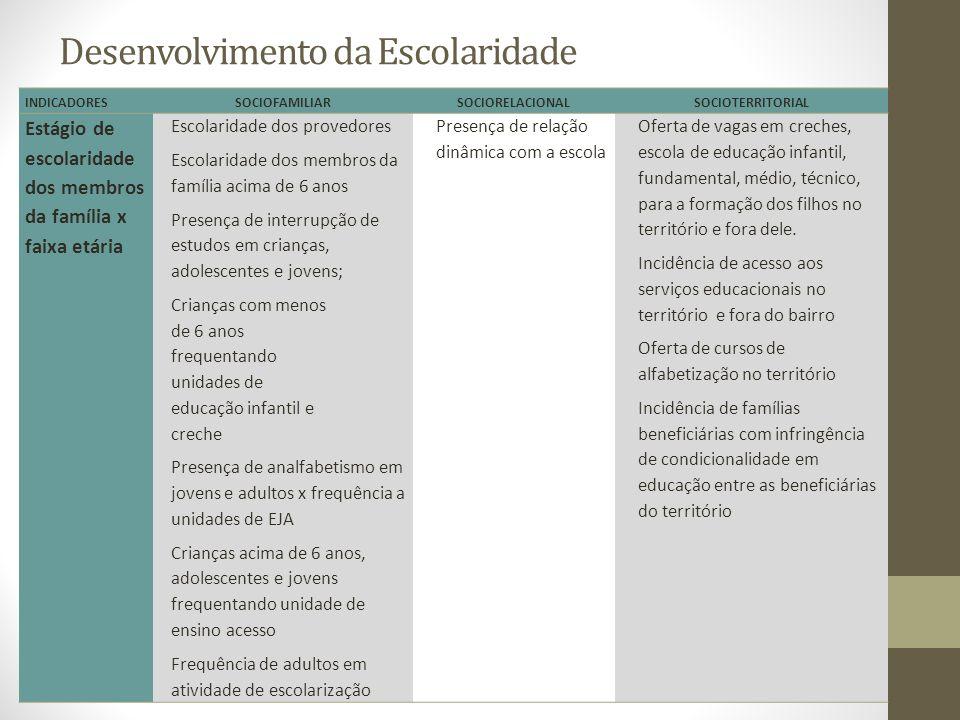 Desenvolvimento da Escolaridade INDICADORESSOCIOFAMILIARSOCIORELACIONALSOCIOTERRITORIAL Estágio de escolaridade dos membros da família x faixa etária