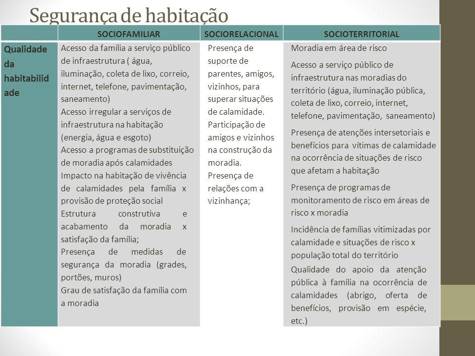 Segurança de habitação SOCIOFAMILIARSOCIORELACIONALSOCIOTERRITORIAL Qualidade da habitabilid ade Acesso da família a serviço público de infraestrutura ( água, iluminação, coleta de lixo, correio, internet, telefone, pavimentação, saneamento) Acesso irregular a serviços de infraestrutura na habitação (energia, água e esgoto) Acesso a programas de substituição de moradia após calamidades Impacto na habitação de vivência de calamidades pela família x provisão de proteção social Estrutura construtiva e acabamento da moradia x satisfação da família; Presença de medidas de segurança da moradia (grades, portões, muros) Grau de satisfação da família com a moradia Presença de suporte de parentes, amigos, vizinhos, para superar situações de calamidade.